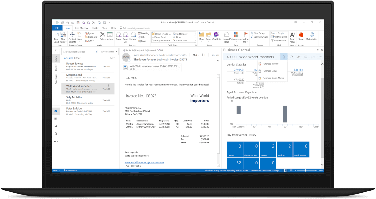 Dynamics365-Buisness-Central-screenshot-outlook